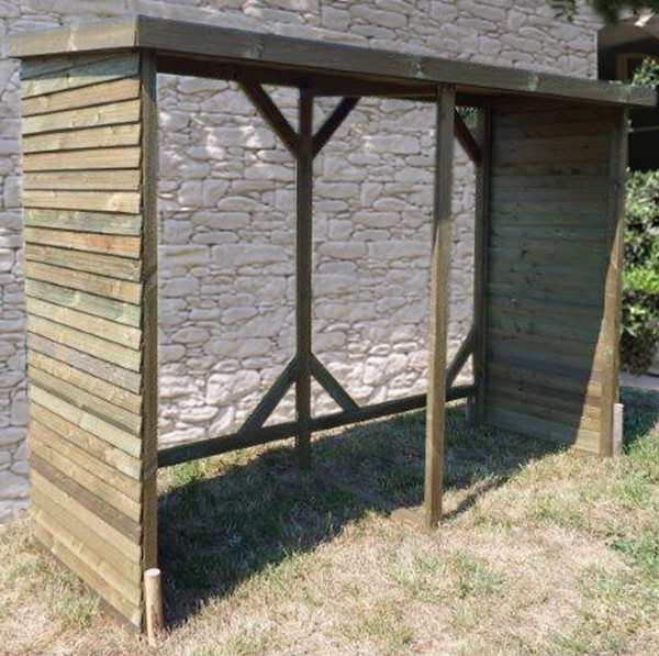 Abri range-bûches autoclavé 6 stères de bois couverture bitumée