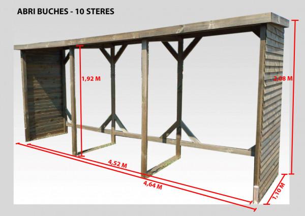 Abri range-bûches autoclavé10 stères de bois couverture bitumée