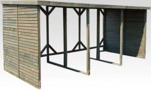 Abri range-bûches autoclavé double20 stères de bois couverture bitumée