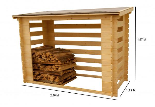 Abri range-bûches fermé 4 stères de bois couverture bitumée