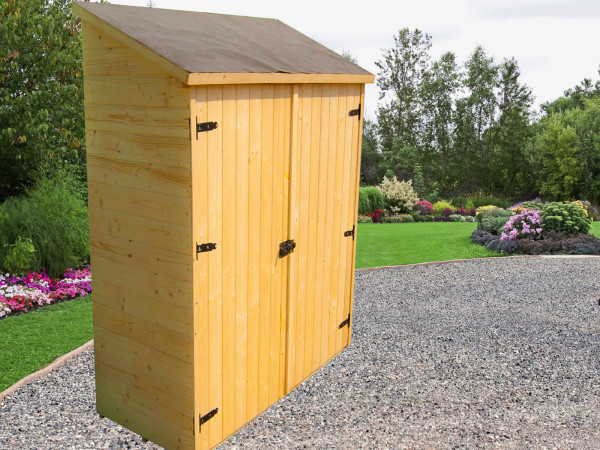 Abri mural bois massif multiusages couverture bitumée / 16 mm / L 125 x l 65 x H 206 cm