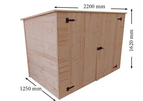 Abri mural bois massif range-vélos-scooters-motos-mobilier de jardin couverture bitumée / 16 mm / L 220 x l 125 x H 162 cm