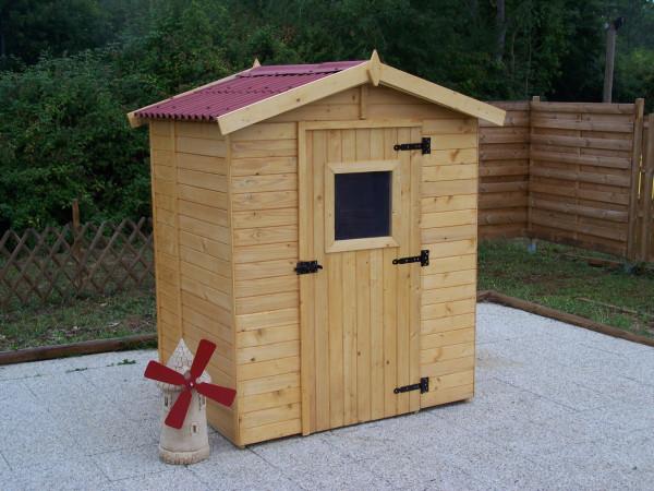 Abri Panneau bois massif avec plancher / 16 mm / 2,61 m2 / toiture plaques ondulées