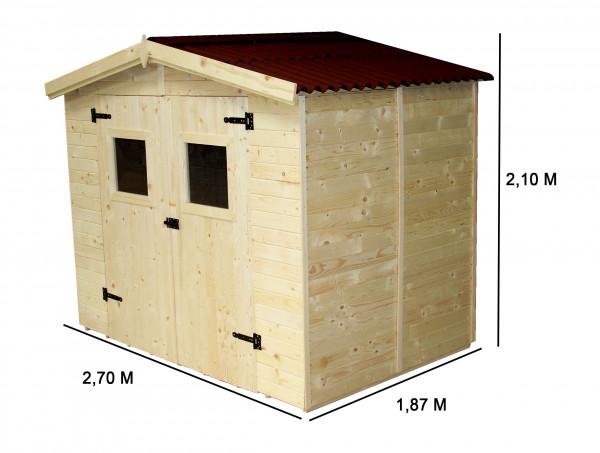 Abri Panneau bois massif avec plancher / 16 mm / 5,04 m2 / toiture plaques ondulées plus grande longévité
