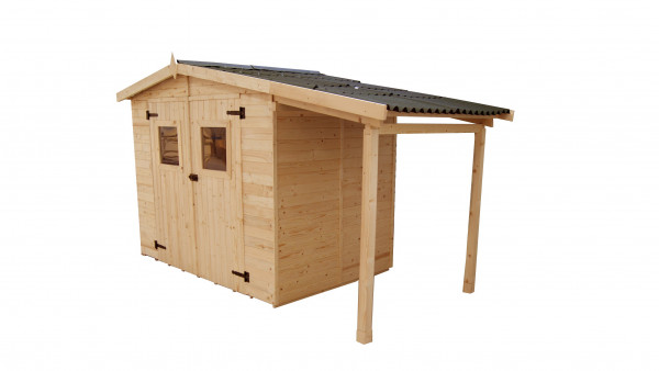 Abri Panneau bois massif avec plancher et bûcher / 16 mm / surface extérieure abri : 5,04 m² surface extérieure bûcher : 2,08 m² / toiture plaques ondulées