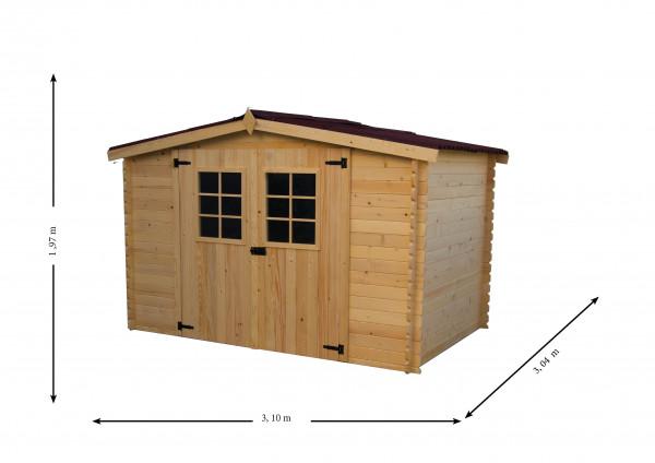 Abri Madriers bois massif / 20 mm / 9,42 m² / toiture plaques ondulées