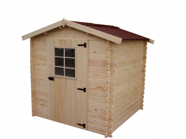 Abri Madriers bois massif / 28 mm / 4,28 m² / toiture plaques ondulées