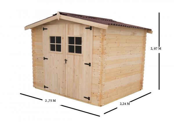 Abri Madriers bois massif / 28 mm / 6,16 m² / toiture plaques ondulées