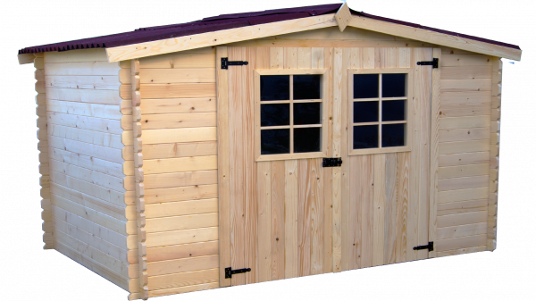 Abri Madriers bois massif / 28 mm / 9,58 m²  / toiture plaques ondulées