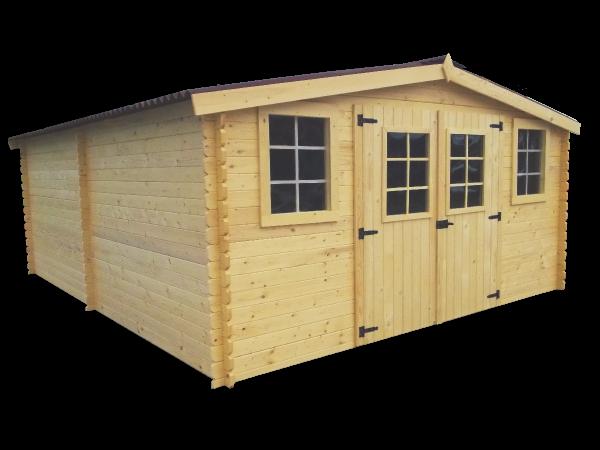 Abri Madriers bois massif grande façade 4 m / 28 mm / 20,97 m² / toiture plaques ondulées