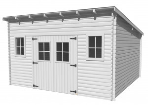 Abri Madriers bois massif toit mono pente multidirectionnel / 28 mm / 17,33 m²