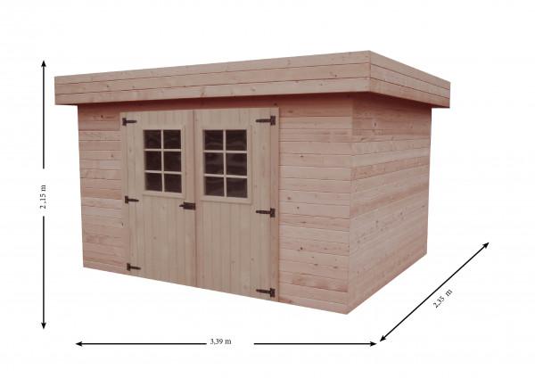Abri Madriers bois massif toit plat avec bac acier / 28 mm / 7,97 m2 / toiture mono pente en tôle bac acier
