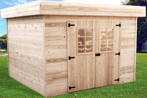 Abri Madriers bois massif toit plat avec bac acier / 28 mm / 11,36 m²