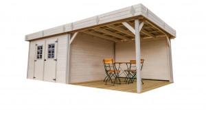 Abri Madriers bois massif avec terrasse /28 mm / 20,64 m²