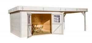 Abri Madriers bois massif avec terrasse / 28 mm / 29,04 m²