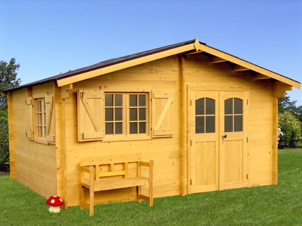 Abri Madriers bois massif avec double rainurage / 42 mm / 22,87 m² / toiture plaques ondulées