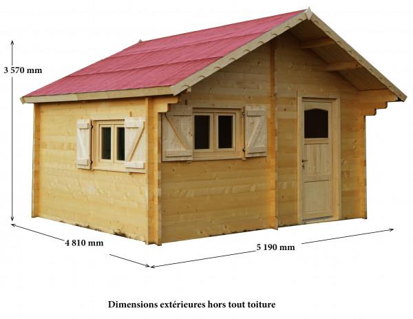 Abri Madriers bois massif double rainurage / 60 mm / 24,96 m²