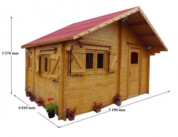 Abri Madriers bois massif double rainurage /  60 mm / 35,34 m²