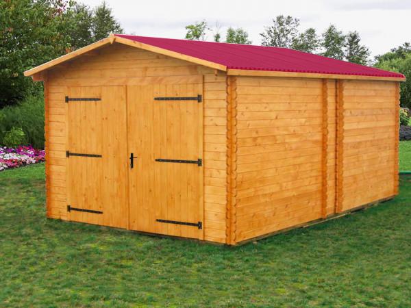 Garage Madriers bois massif / 28 mm / 20,98 m² / toiture plaques ondulées