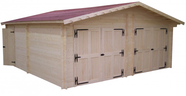 Garage double Madriers bois massif  double rainurage / 42 mm /  42,16 m²