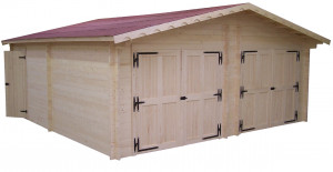 Garage double Madriers bois massif  double rainurage / 42 mm /  42,16 m²