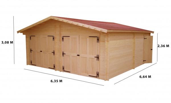 Garage double Madriers bois massif double rainurage / 60 mm / 42,16 m²