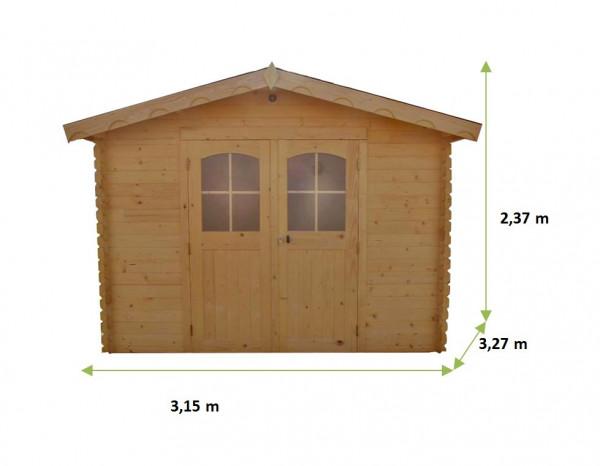 Abri Madriers bois massif / 28 mm / 10,30 m2²