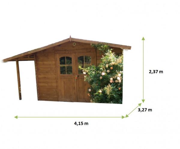 Abri Madriers bois massif avec Bûcher / 28 mm /13,57 m²
