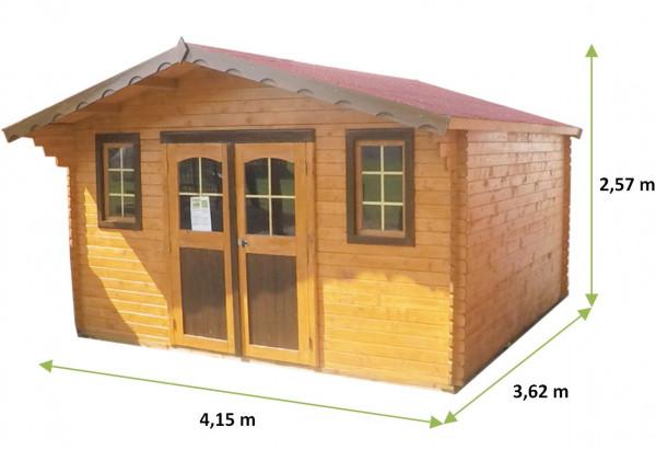 Abri Madriers bois massif / 28 mm / 15,02 m²