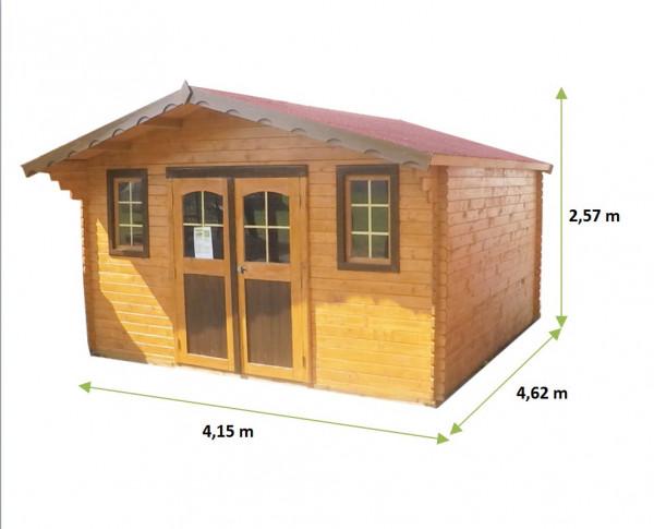 Abri Madriers bois massif / 28 mm / 19,17 m²