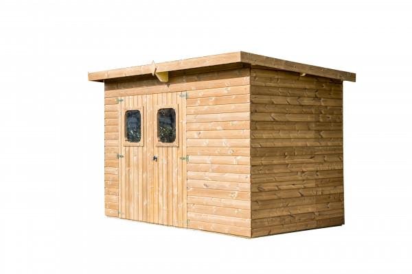 Abri panneaux fabriqué en bois massif traité très haute température / 19 mm / 6,45 m² / Toit mono pente en plaques ondulées Onduline