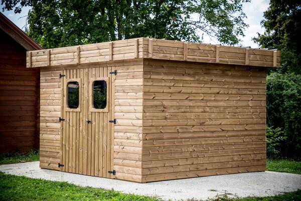Abri madriers fabriqué en bois massif traité très haute température / 28 mm /  11,53 m2 / Toit plat en bac acier galvanisé