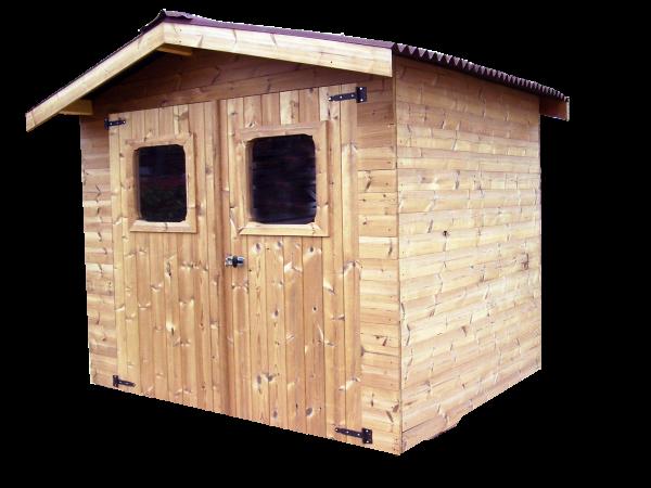 Abri madriers fabriqué en bois massif traité très haute température / 28 mm /  7,81 m2 / Toit double pente en plaques ondulées Onduline