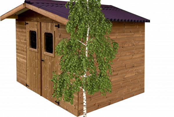 Abri madriers fabriqué en bois massif traité très haute température / 28 mm / 11,97 m2 / Toit double pente en plaques ondulées Onduline