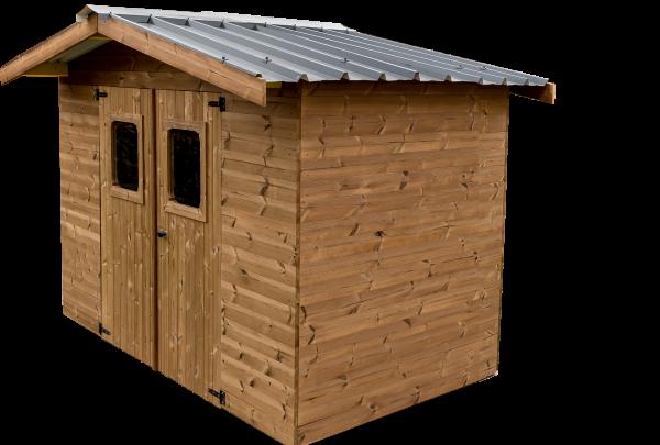 Abri madriers fabriqué en bois massif traité très haute température / 28 mm /7,81 m2 / Toit double pente en bac acier galvanisé
