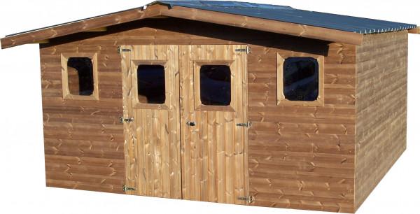 Abri madriers fabriqué en bois massif traité très haute température / 28 mm / surface extérieure : 15,14 m2 / Toit double pente en bac acier galvanisé