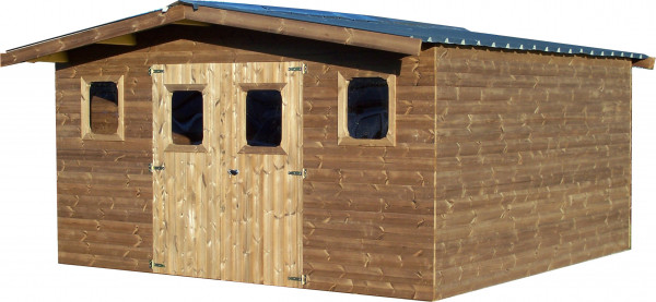 Abri madriers fabriqué en bois massif traité très haute température / 28 mm / surface extérieure : 19,69 m2 / Toit double pente en bac acier galvanisé