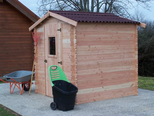 Abri Madriers en douglas massif bois Français / 20 mm / Toit double pente couverture plaques ondulées Onduline / 4,28 m2