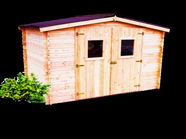Abri Madriers douglas massif bois Français / 28 mm / Toit double pente couverture plaques ondulées Onduline / 9,85 m2