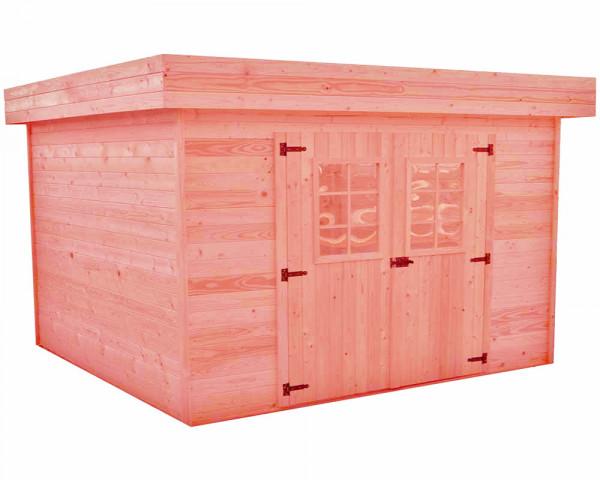 Abri Madriers douglas massif bois Français / 28 mm / Toit plat couverture bac acier /14,74 m2