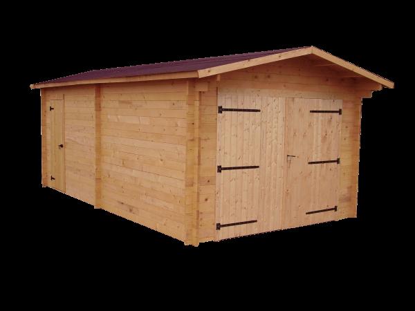 Garage madriers douglas massif bois Français  / 28 mm / Toit double pente couverture feutre VV Onduline / 23,94 m2