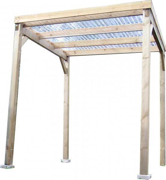Carport Autoclavé toit plat économique avec couverture / surface extérieure : 4,00 m2