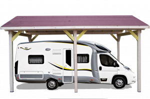 Carport double pente 30° / 1 voiture / 3,50 m x 6 m Option CAMPING-CAR hauteur passage 3,34 m