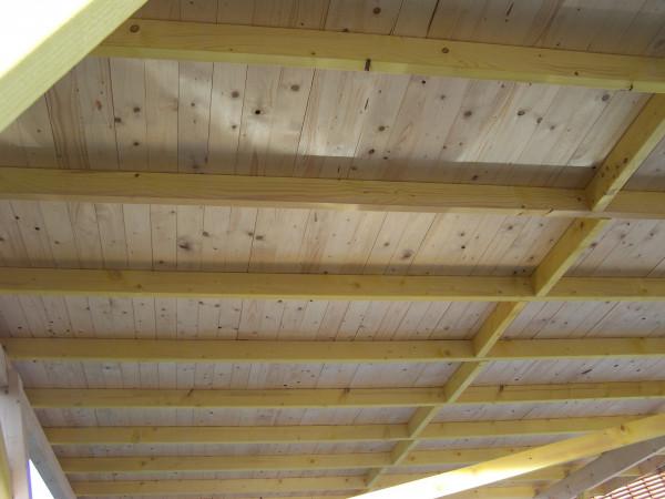 Carport monopente avec couverture bardeau bitumé en rouleau / 3,90 x 5,86 m