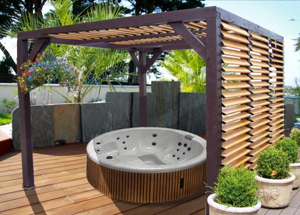 Auvent VENETO bois avec ventelles réglables toit et mur / 3,48 m x 3,12 m