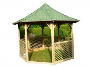 Pavillon octogonal de luxe bois massif / surface au sol : 8,78 m2