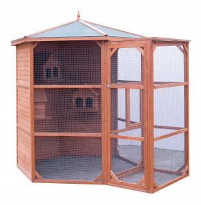 Volière grande taille / 4,5 m2 / sas d'entrée / 6-10 oiseaux / toit bitumé