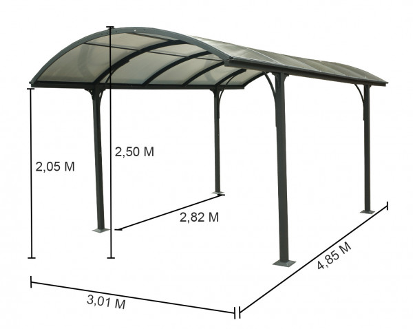 Carport ALUMINIUM toit 1/2 rond 14,62 m²