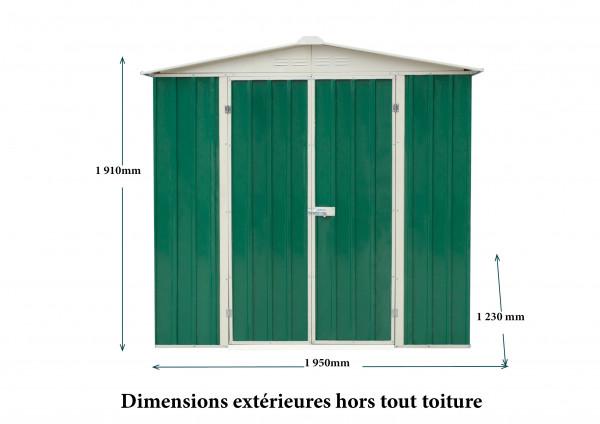 Abri métal toit 2 pentes / 2,39 m²