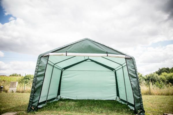 Abri jardin en toile renforcée verte toit 2 pentes / 3,65x3,65 m / polyéthylène renforcé 195 gr/m2 / 13,30 m²